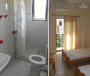 Jedno od kupatila/Jedna od soba vile Vasiliki na Krfu u Grčkoj. Kupatilo: WC, lavabo, tuškabina, ogledalo. Soba: Namešteni kreveti, klima, terasa.