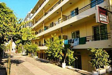 Spoljašnjost aparthotela Royal u Rodosu u Grčkoj.